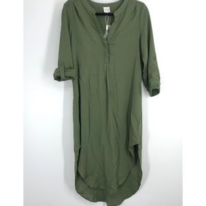 NWT Cupio green shirt dress tunic high low small relaxed fix